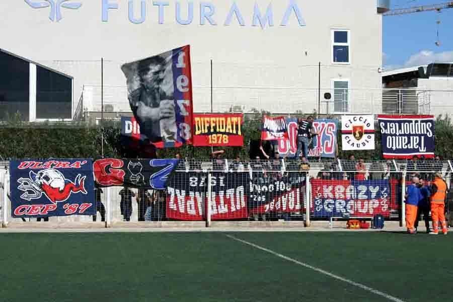 Il Taranto a Brindisi a porte chiuse