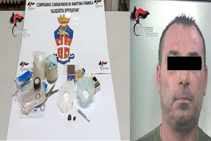 Sorpreso con hashish e cocaina. I carabinieri arrestano 43 enne