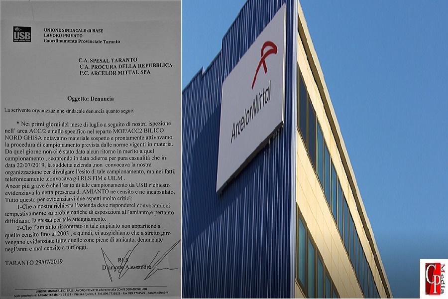 """Usb Taranto denuncia: """"Ritrovato amianto non censito nello stabilimento"""""""