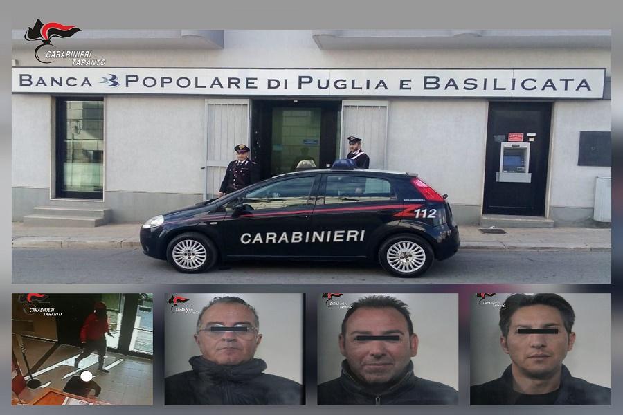 Palagianello, rapinatori di banche in trasferta: tre arresti