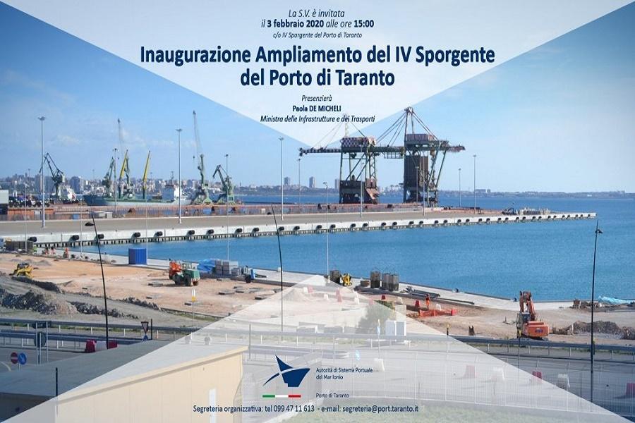 Porto di Taranto: inaugurazione IV sporgente