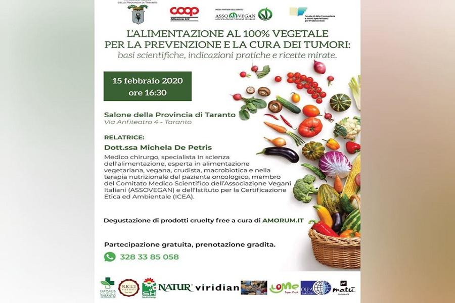"""A Taranto """"L'alimentazione al 100% vegetale per la prevenzione dei tumori"""""""