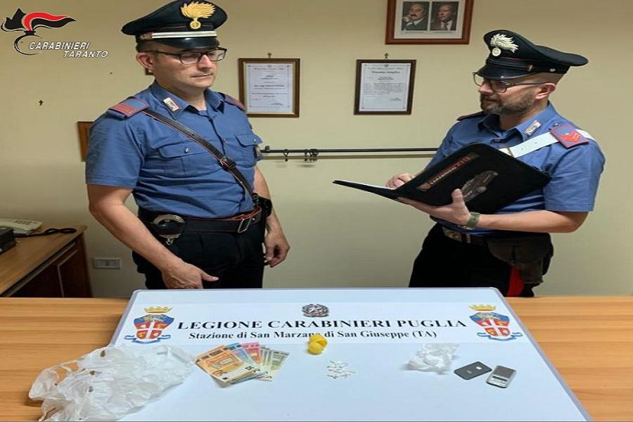 San Marzano di San Giuseppe (TA): arrestato 20 enne per spaccio