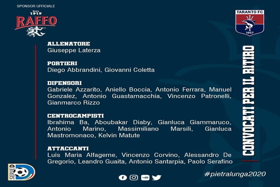 Taranto Calcio, parte il ritiro