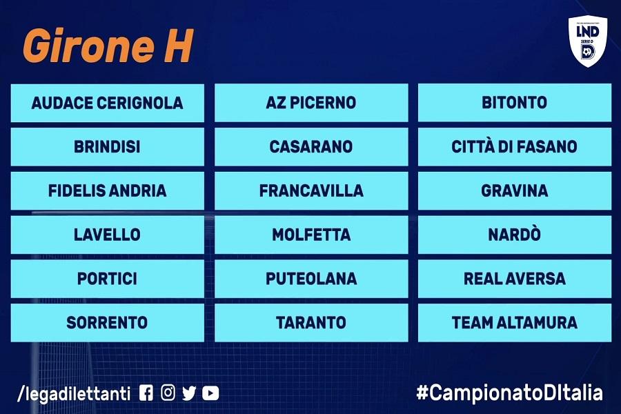 Gironi Serie D: il Taranto ancora una volta in un gruppo di ferro