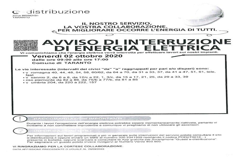 Taranto, sospensione energia elettrica: l'avviso del Comune