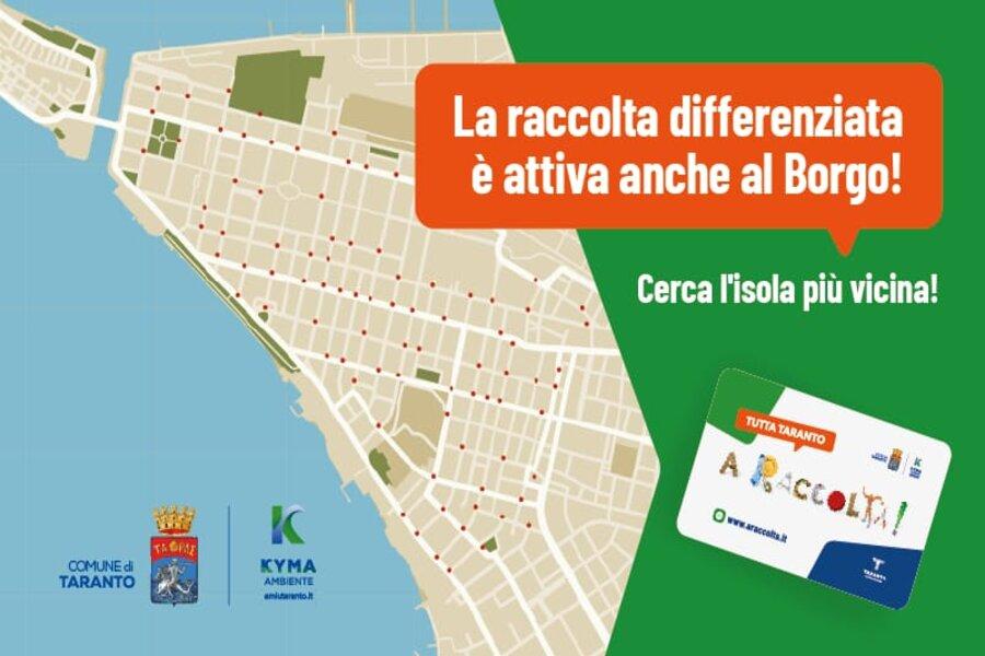 Borgo di Taranto, raccolta differenziata: lunedì 16 si parte con le prime mini isole ecologiche